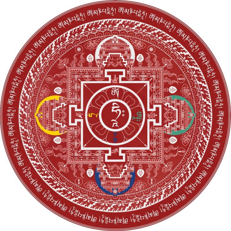 Red Chenrezig Mandala by Andy Weber. Image courtesy of Andy Weber Studios Facebook page.