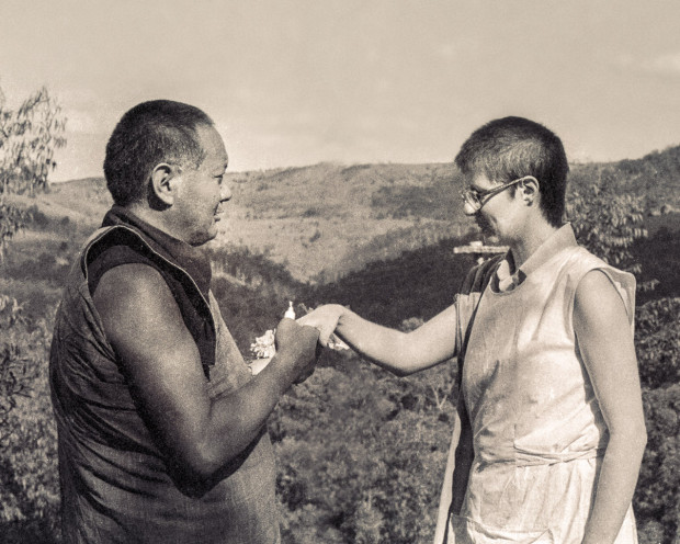 Ven. Margaret (the cook) with Lama Yeshe, Chenrezig Institute, 1981. Photo courtesy of Lama Yeshe Wisdom Archive.
