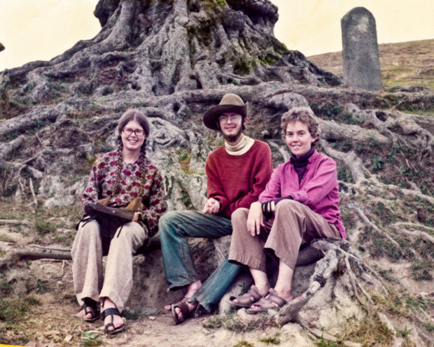 Margaret McAndrew with Roger Jackson and Pam Percy at the foot of Kopan Hill at the time of the 7th Kopan course, fall 1974. Photo by Wendy King.