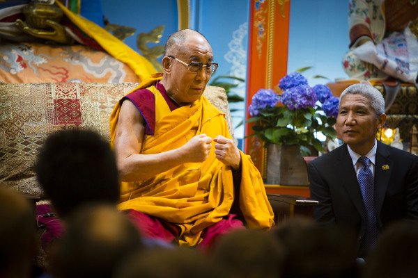 His Holiness the Dalai Lama and translator Thupten Jinpa in the Jokhang at Maitripa College, May 10, 2013. Photo by Leah Nash.