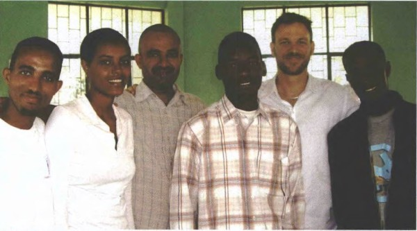 Second from right is Dr Brett Sutton; third from left is Tesfaye, an Ethiopian doctor. The others are Eritrean refugees Habtom, Haben, Ariah and Kebrom.