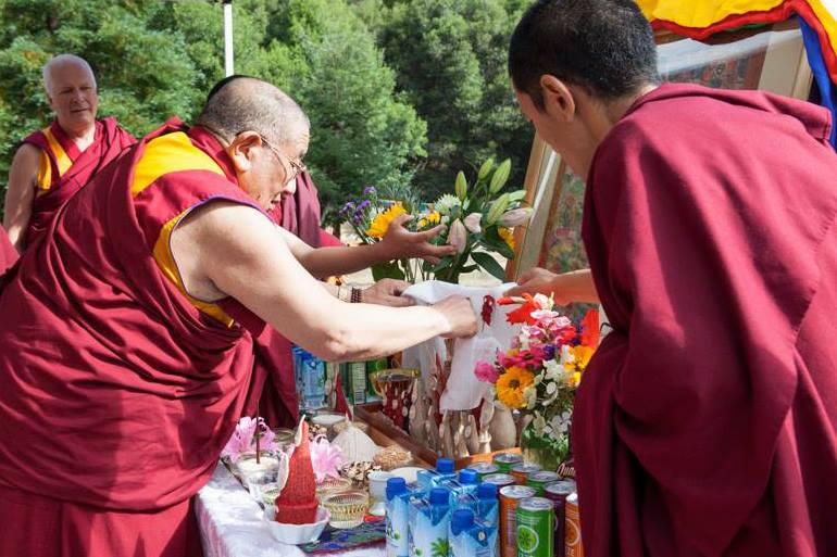 Geshe Ngawang Dakpa checking the torma for Padmasambhava incense puja, Land of Medicine Buddha, California, August 2013. Photo by Dionne Wilson; courtesy LMB's Facebook page.