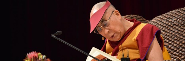 His Holiness going through the teaching text Jewel Lamp: A Praise of Bodhichitta by Khunu Rinpoche, Sydney, Australia, 2013. Photo courtesy of DLIA.