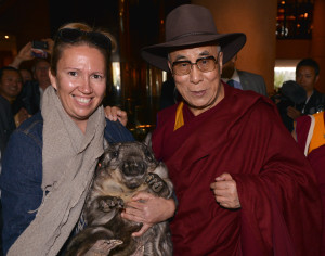 His Holiness in an Akubra hat with a wombat, Adelaide, Australia, 2013. Photo courtesy of DLIA.