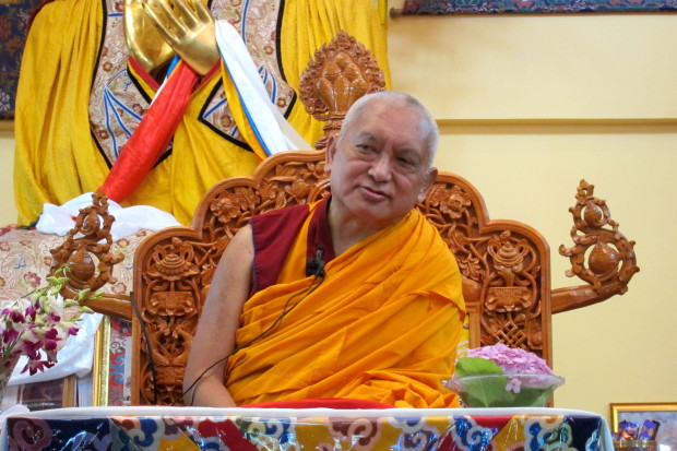 Lama Zopa Rinpoche teaching at Tushita Meditation Centre, Dharamsala, India, June 2013. Photo by Ven. Sarah Thresher.