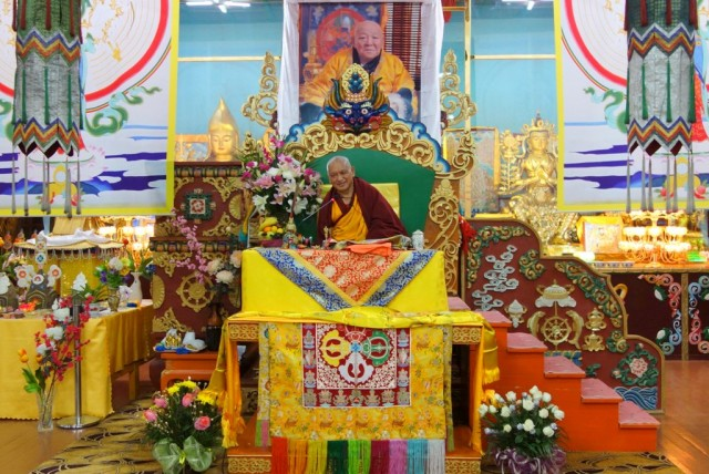 Lama Zopa Rinpoche on his first day of teaching at the 100 Million Mani Retreat in Mongolia, August 15, 2013. Photo by Ven. Roger Kunsang.