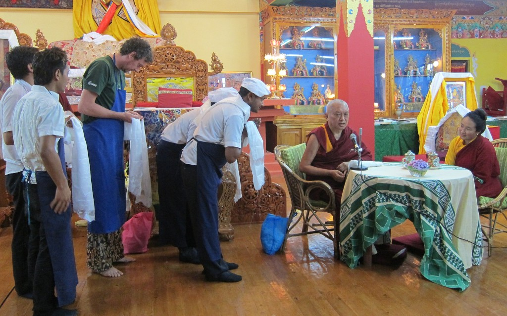 Lama Zopa Rinpoche and Khadro-la with Tushita Meditation Centre Cooks, June 2013. Photo by Ven. Sarah Thresher.