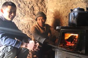 Lopsang (left) and teahouse owner during our trek into Tsum, November 2012. Photo courtesy of Jane Marshall.