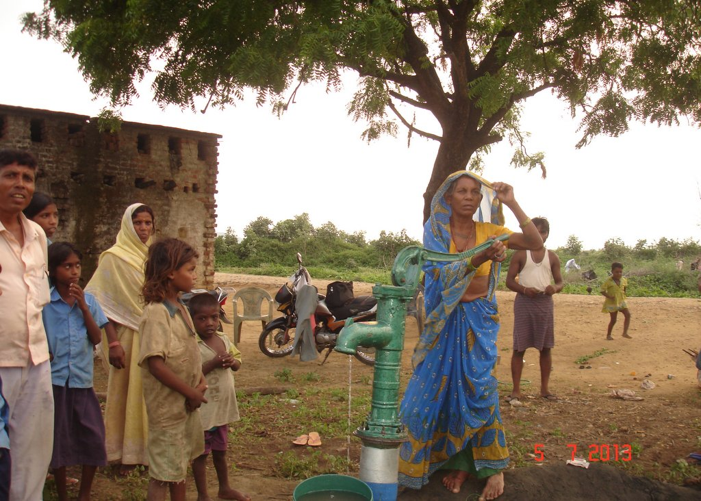 Villager of Nimi finally have water as a result of MATRI's work, Fatehpur, India, July 2013. Photo courtesy of MAITRI.