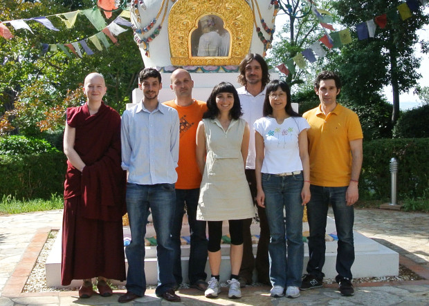 Masters Program students (left to right): Ven. Tiziana Losa, Jacob Fisher, Yaniv Sagi, Marina Brucet, Hans Burghardt, Yumi Terada and Joan Dombón, Istituto Lama Tzong Khapa, Pomaia, Italy, July 2013. Photo courtesy of ILTK.