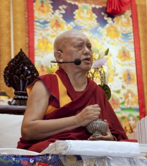 Lama Zopa Rinpoche, Amitabha Buddhist Centre, Singapore, March 2013. Photo by Steve Ching.