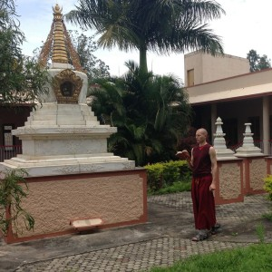 Tenzin Gache reciting in front of Stupa at Sera IMI House-001