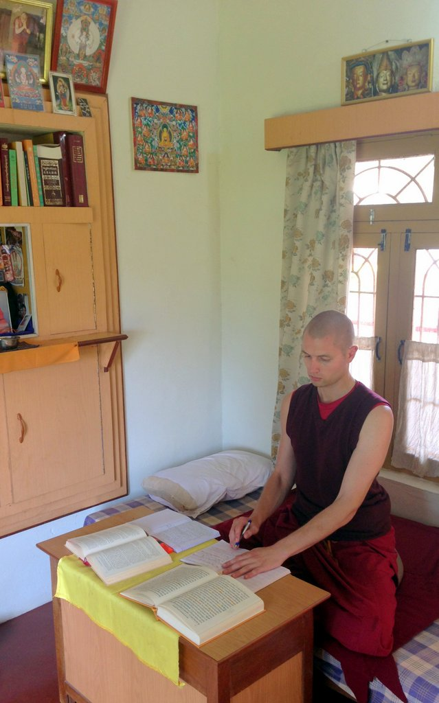 Tenzin Gache studying in room-001