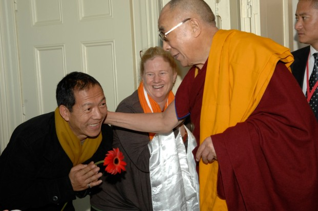 His Holiness the Dalai Lama recognizes and greeted Chandrakirti Meditation Centre translator Tenzin Thubwang, July 2013. Photo courtesy of Phillipa Rutherford.