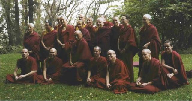 Happy Sangha with Lama Zopa Rinpoche (center).