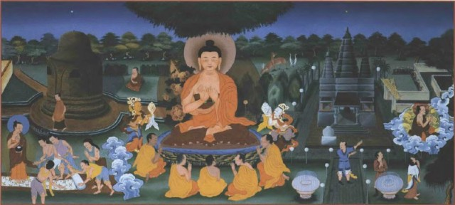 Buddha's eleventh deed: turning the wheel of the doctrine, ordaining five ascetics, and teaching the four noble truths. From panels at Land of Medicine Buddha painted by Thubten Gelek and Ngawang Kunkhen. Photo by Mark Oakney.