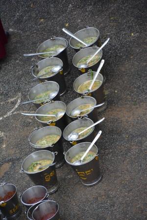 Buckets of soup. Photo courtesy of Sera Je Food Fund.