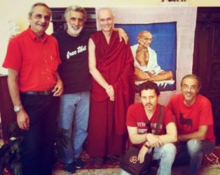 Study group members with Messina Mayor Renato Accorinti (in Free Tibet t-shirt). Photo courtesy of Shakyamuni Study Group.