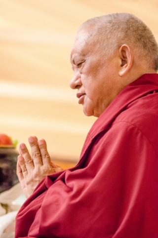 Lama Zopa Rinpoche at long life puja, Land of Medicine Buddha, California, September 29, 2013. Photo by Chris Majors.