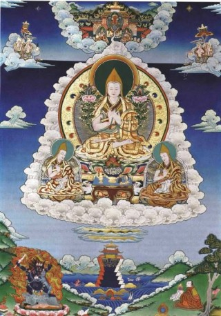 Lama Tsongkhapa, the founder of the Gelug school of Tibetan Buddhism