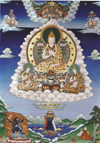 Lama Tsongkhapa, the founder of the Gelug school of Tibetan Buddhism