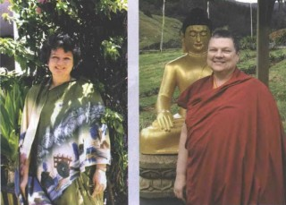 Annie Coats in her first year at the orphanage, and Ani Tenzin Desal after ordination.