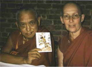 Ani Thubten Munsel with her root guru Lama Zopa Rinpoche