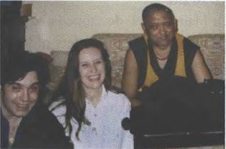 Pascal with his partner Marie Adeline, Lama Zopa Rinpoche and the cat Osiris who would sing along whenever Rinpoche was chanting prayers.