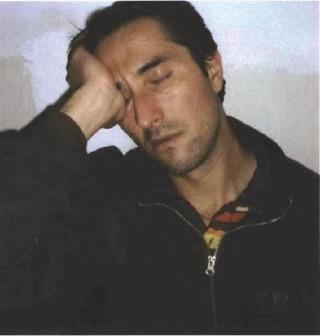 An exhausted Rafael Gandhi, Vajrapanrs new spiritual program coordinator, falls asleep at the end of the nyung nã retreat.