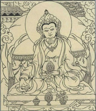 Drawing of King Songtsen Gampo by Solu Khumbu thangka painter Oleshe, from the private collection of Richard Tendzin.