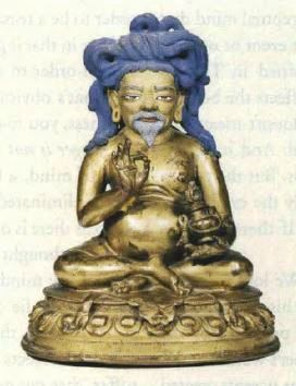 Image of Tangtong Gyalpo holding a medicinal pill and longevity vase. Fifteenth century image in the Potala collection. Photo courtesy of Ulrich von Schroeder.