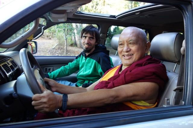 Lama Zopa Rinopche checks out Tenzin Ösel Hita's new car, Aptos, California, October 2013. Photo by Ven. Roger Kunsang.