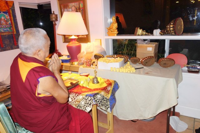 Lama Zopa Rinpoche blessing mantras for statues, Kachoe Dechen Ling, California, October 21, 2013. Photo by Ven. Roger Kunsang.