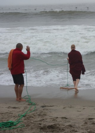 Vens. Sanpo and Holly with smaller mantra board, California, October 26, 2013. Photo by Ven. Roger Kunsang