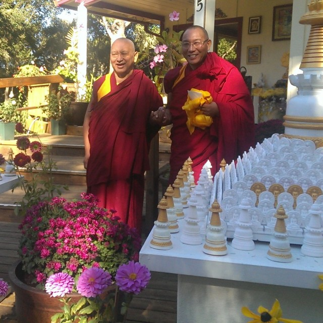 Dagri Rinpoche with Lama Zopa Rinpoche at Kachoe Dechne Ling on the morning of his departure back to India, Kachoe Dechen Ling, California, Oct 7, 2013. Photo Roger Kunsang.