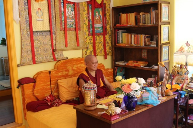 Lama Zopa Rinpoche after arriving back in California from Mongolia, September 13, 2013