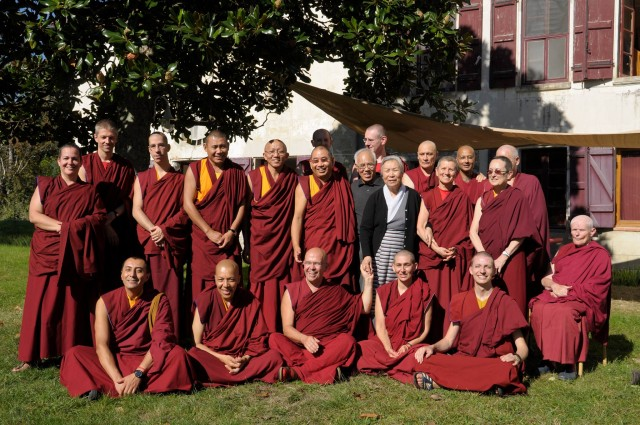 Jetsun Pema with Sangha at Nalanda Monstery, France, October 21, 2013. Photo  courtesy of Nalanda's Facebook page.