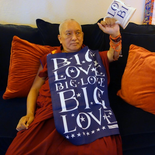 "Lama Zopa Rinpoche wishes everyone ""Big Love,"" Kachoe Dechen Ling, September 24, 2013"
