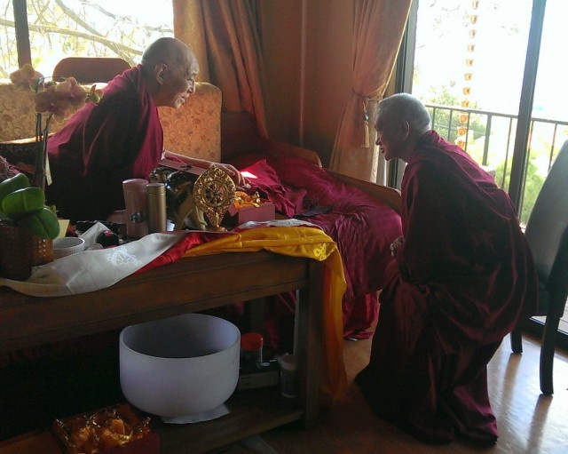 Lama Zopa Rinpoche visiting Choden Rinpoche, California, September 30, 2013. Photo by Ven. Roger Kunsang.