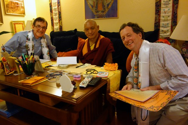 Lama Zopa Rinpoche with Dr. Ron Brown and Dr. Robbie Watkins, director of Kadampa Center, Kachoe Dechen Ling, October 5, 2013