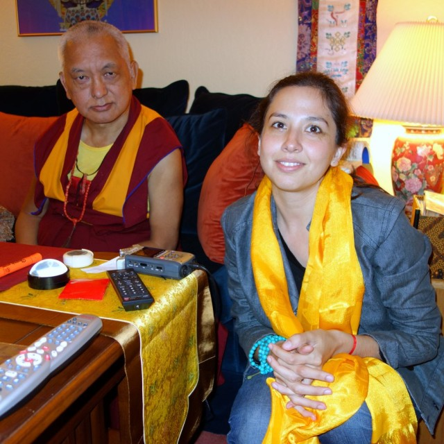 Lama Zopa Rinpoche with Dunia Cárcamo Pérez, director of Khamlungpa Center in Zapopan, Mexico, Kachoe Dechen Ling, October 2, 2013