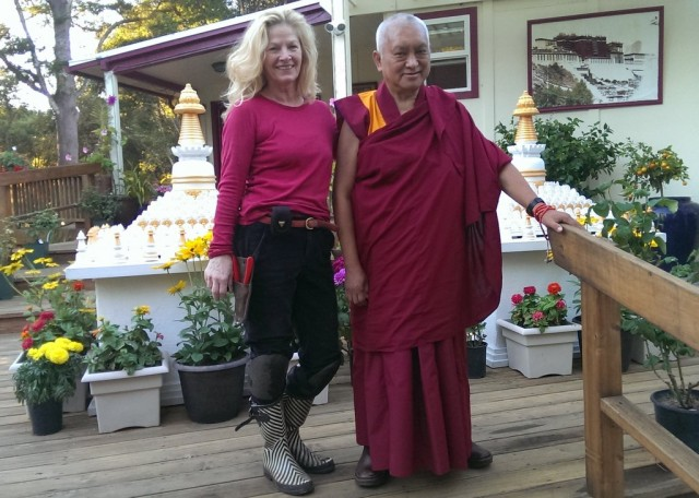 Lama Zopa Rinpoche with Nancy Davis, Aptos, California, September 30, 2013. Photo by Ven. Roger Kunsang.