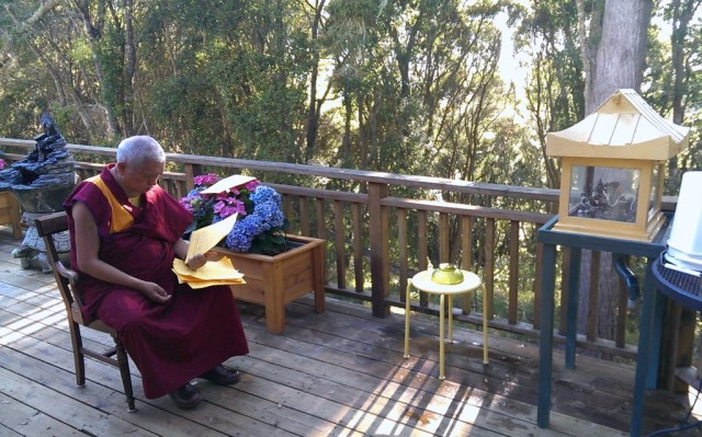 Lama Zopa Rinpoche doing Zambala Offering before lunch at Kachoe Dechen Ling, Aptos, California, US, October 4, 2013. Photos by Ven. Roger Kunsang.
