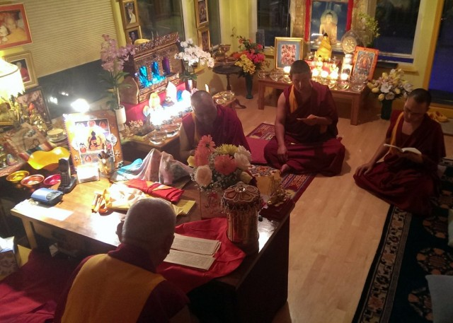 Lama Zopa Rinpoche, Vens. Pemba, Sherab and Tsering doing puja at Kachoe Dechen Ling, California, US, September 22, 2013