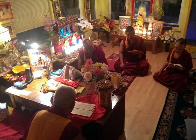 Lama Zopa Rinpoche, Vens. Pemba, Sherab and Tsering doing puja at Kachoe Dechen Ling, California, US, September 22, 2013