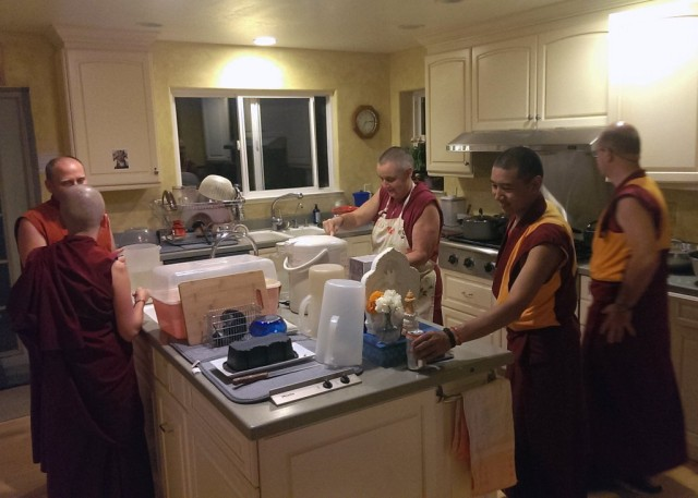 Sangha making dinner for Lama Zopa Rinpoche and Dagri Rinpoche, Kachoe Dechen Ling, California, October 4, 2013