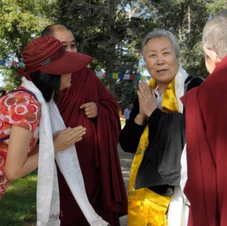 Jetsun Pema at Nalanda Monastery, France, October 21, 2013. Photo courtesy of Dana Lissy's Facebook page.