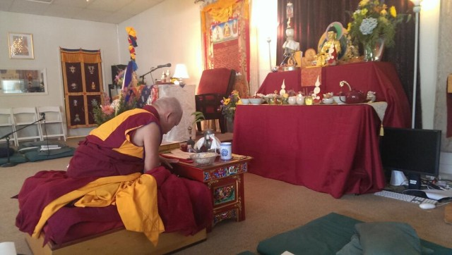 Lama Zopa Rinpoche preparing for amitabha long life initiation at Gylwa Gyatso Center, California, October 13, 2013. Photo by Ven. Roger Kunsang.