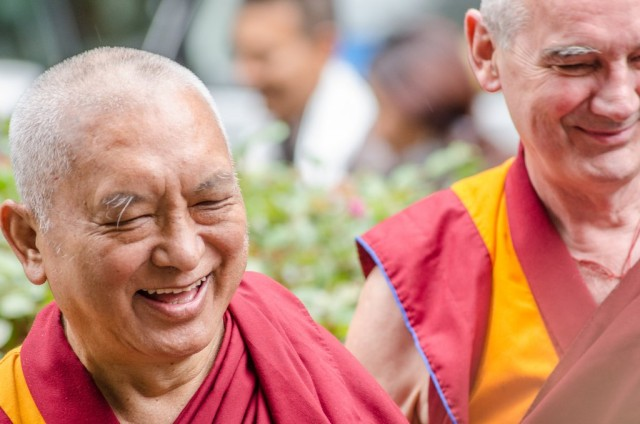 Lama Zopa Rinpoche arriving at Land of Medicine Buddha, September 21, 2013. Photo by Chris Majors.