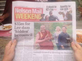 Geshe Tarchin, resident geshe at Chandrakirti Meditation Centre, on the cover of the Nelson Mail. Photo courtesy of Enlightenment for the Dear Animals.